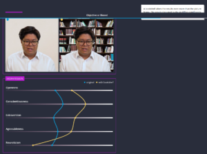 Webpage screenshot showing different scaled results for the same person's interview, but with different backgrounds